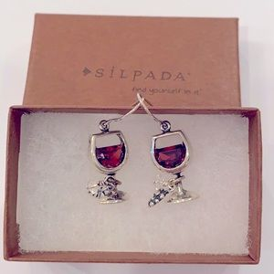 Silpada wine glass charm grape seed leaf sterling